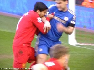 Suarez received a lengthy ban for biting Ivanovic  (Image from PA)