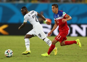 Bedoya was superb in midfield before going off with an injury (Image from Getty)