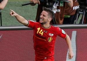 Mertens celebrates after scoring the winner against Algeria  (Image from PA)