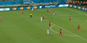 The US operated with two tight lines of four against Ghana (Image from CBC)