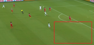 As Beasley pulls into the middle, a gap opens up at left back that was not exploited by Ghana (Image from CBC)