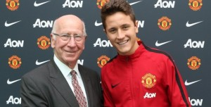 Herrera was welcomed at Manchester United by Sir Bobby Charlton  (Image from AFP)