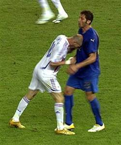 Zidane received a three game ban from FIFA for his head butt  (Image from AFP)