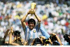 Maradona lifts the 1986 World Cup  (Image from Action Images / Sporting Pictures / Tony Marshall)