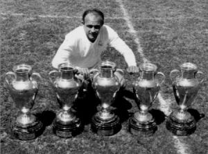 Di Stefano with the five European Cups  (Image from Getty)