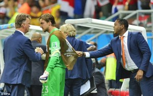 Last few words of encouragement from Van Gaal  (Image from EPA)