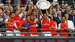 Arsenal lift the FA Community Shield (Image from Getty)