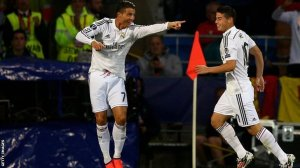 Ronaldo celebrates with Rodriguez after giving Real the lead  (Image from Getty)
