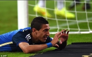 Di Maria celebrates after scoring Argentina's fourth goal (Image from AFP)