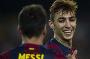 Munir celebrates his goal with Messi  (Image from AFP)