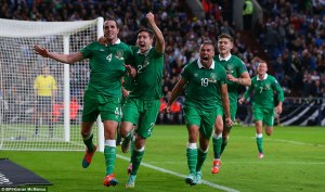 John O'Shea scores a last minute equalizer against Germany (Image from BPI/Kieran McManus)