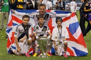 New Football Dynasty - David Beckham with sons Brooklyn, Romeo and Cruz  (Image from AP)