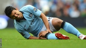 Aguero fell under the challenge of Everton's Muhamed Besic, injuring his knee  (Image from Getty)