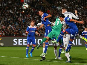 Sergio Ramos scores one of Real's four goals against Cruz Azul  (Image from PA