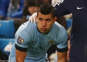 A tearful Aguero leaves the field against Everton (Image from Matt West/BPI)