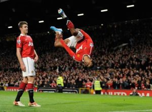 Nani celebrates a goal whilst playing for Manchester United  (Image from Getty)