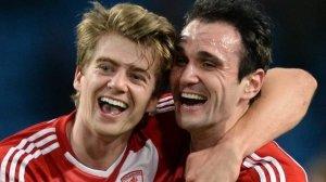 Goal scorers Bamford and Kike celebrate  (Image from Getty)