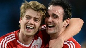 Goal scorers Bamford and Kike celebrate  (Image from Getty)