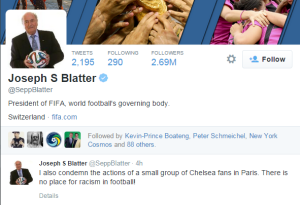 Blatter is vocal about his opinions but FIFA has failed to act in recent years  (Image from Twitter - Sepp Blatter)
