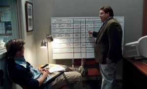 Brad Pitt (sitting) starred in the film version of Moneyball  (Image from Sony)