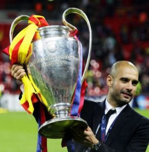 Pep Guardiola is looking to add another Champions League trophy to his collection  (Image from Getty)
