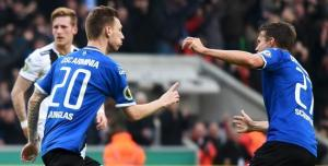 Manuel Junglas scores for Bielefeld against Borussia Monchengladbach  (Image from PA)