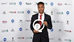 Sterling picked up the clubs Young Player of the Year award to a chorus of boos  (Image from Getty)