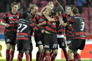 FC Midtjylland celebrate another victory as they close in on the title (Image from PA)