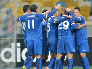 Togetherness - Dnipro's players celebrate their win over Ajax  (Image from AFP)