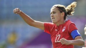 Canada captain Christine Sinclair was unable to inspire her team to get back into the match  (Image from Getty)