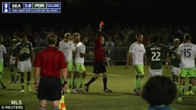 Dempsey sent off for tearing up note book (Image from MLS)