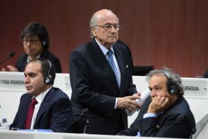 If looks could kill - Platini is annoyed with another Blatter win  (Image from Getty)