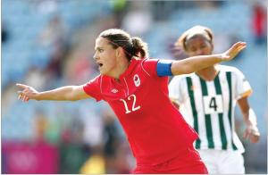 Christine Sinclair will be hoping she can inspire Canada to glory  (Image from Getty)