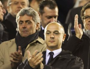 Baldini (in the scarf) with Daniel Levy  (Image from AFP)
