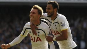 Erkisen and Chadli celebrate after scoring last season  (Image from PA)