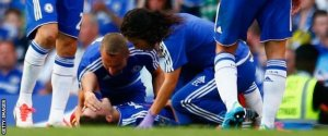 The Chelsea medics treat Hazard against Swansea (Image from Getty)