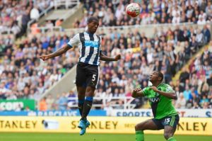Wijnaldum rises to meet Obertan's cross to head Newcastle into the lead  (Image from Getty)