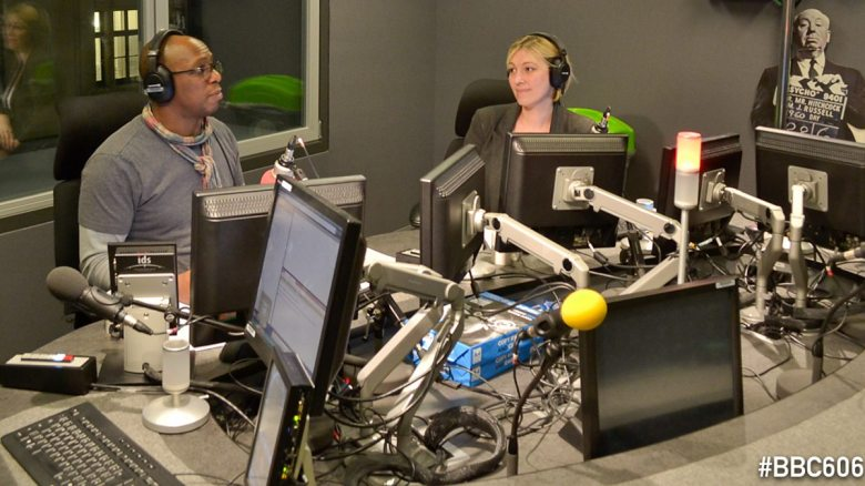 Ian Wright and Kelly Cates prepare for another 606 phone in (Image from BBC)