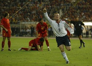 Rooney celebrates his first goal for England against Macedonia  (Image by Andy Hooperway)