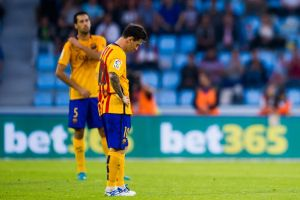 Messi looks at the ground as Celta run riot  (Image from Getty)