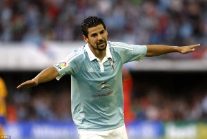 Nolito started the rout with a curling effort that beat Marc ter Stegen in the Barca goal (Image from epa)