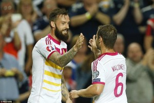 Fletcher celebrates scoring another hat trick against Gibraltar but Scotland failed to qualify yet again (Image from Reuters)