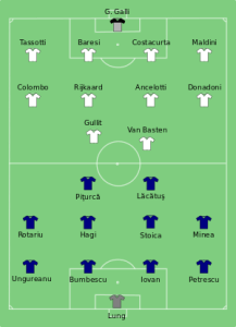 AC Milan vs Steaua Bucharest 1989 European Cup final line ups (Image from Getty)