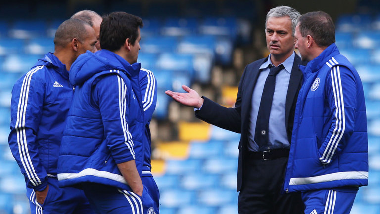 Mourinho and his staff held a meeting on the pitch after the 3-1 defeat to Liverpool (Image from PA)