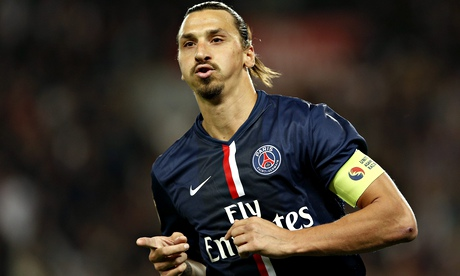 Zlatan Ibrahimovic celebrates scoring for Paris Saint Germain against St Etienne.