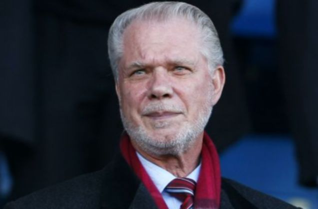West Ham co-owner David Gold watches on against Everton before t