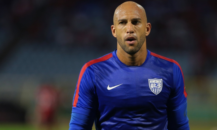 PORT OF SPAIN, TRINIDAD & TOBAGO - NOVEMBER 17: USA's goalkeeper #12 Tim Howard feels the heat during a World Cup Qualifier between Trinidad and Tobago and USA as part of the FIFA World Cup Qualifiers for Russia 2018 at Hasely Crawford Stadium on November 17, 2015 in Port of Spain, Trinidad & Tobago. (Photo by Ashley Allen Getty Images)