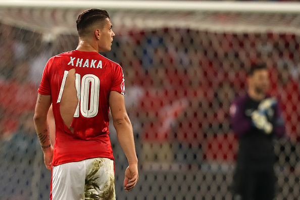 LILLE, FRANCE - JUNE 19:  Granit Xhaka of Switzerland's ripped shirt during the UEFA EURO 2016 Group A match between Switzerland and France at Stade Pierre-Mauroy on June 19, 2016 in Lille, France.  (Photo by Matthew Ashton - AMA/Getty Images)