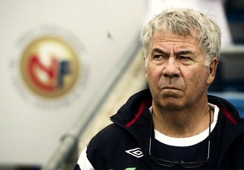 Norway's head coach Egil Olsen looks on