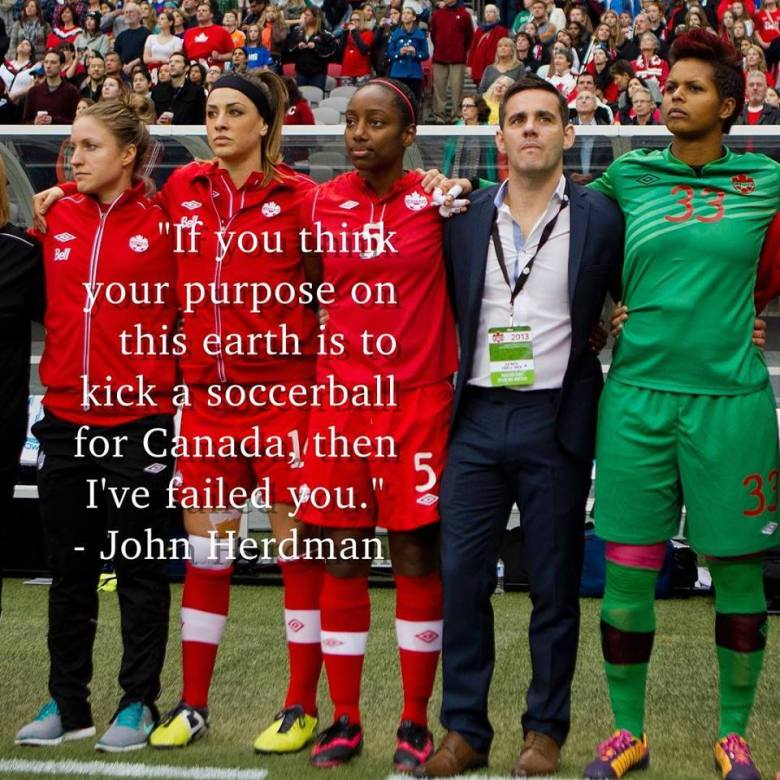 John Herdman's words to Karina in Brazil (Image from Karina's Facebook page)